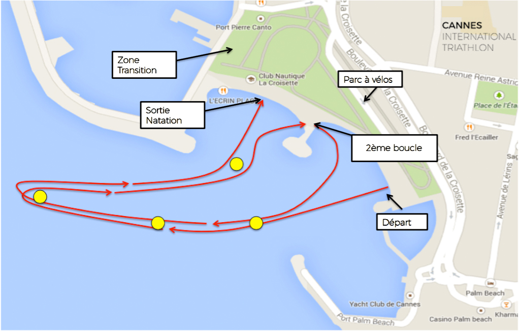 Parcours 2km Natation Cannes International Triathlon 2017